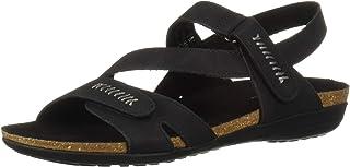 Easy Street Women's Winnie Casual Sandal with Hook and Loop Closures, Black 9.5 N US