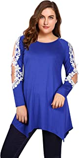 AMZ PLUS Womens Shirts Casual Tunic Tops Lace Blouse Short Sleeve Plus Size Asymmetrical Tops
