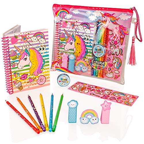 Style Girlz Deluxe Unicorn Stationery Set - Girls Coloring Pencils Cuaderno de Diario Kit de Arte de Estuche de lápices