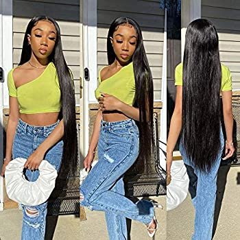 30 Inch Straight Lace Front Wigs Human Hair Pre Plucked Bleached Knots with Baby Hair 150% Desnity 4x4 Lace Closure Human Hair Wigs Brazilian Virgin Straight Closure Wigs For Black Women Mengkai