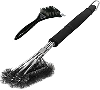 Swonuk 18 Cepillos de Cerdas de Acero Inoxidable Barbacoa Herramienta Cepillo para Parrilla con raspador para Diferentes Parrillas