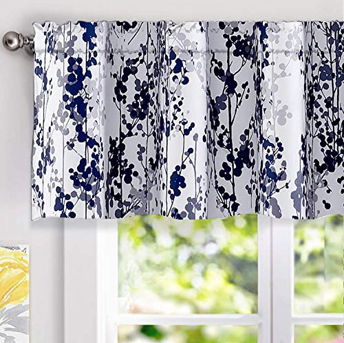DriftAway Leah Abstract Floral Blossom Ink Painting Thermal Insulated Window Curtain Valance Rod Pocket 52 Inch by 18 Inch Plus 2 Inch Header Navy Silver Gray 1 Pack