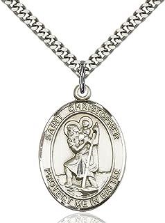 Bonyak Jewelry Sterling Silver St Joseph Pendant with 24in Light Rhodium Heavy Curb Chain