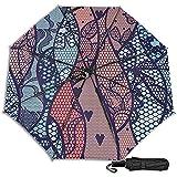 Encaje con Flores en Colores Pastel Manual Plegable Triple Plegable Paraguas de Lluvia de Viaje Protección UV Fuerte Resistente al Viento
