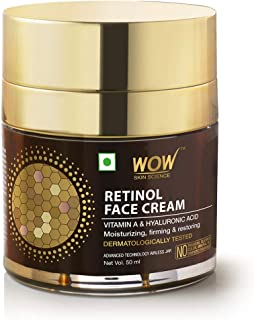 WOW Skin Science Anti Aging Retinol Face Cream - For Brighter Complexion and Smaller-looking pores - Oil Free, Quick Absorbing - For All Skin Types - No Parabens, Silicones, Color, Mineral Oil & Synthetic Fragrance - 50mL