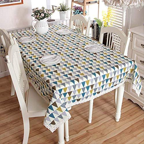 Geometrisch blok tafelkleed, huishouden katoen linnen kan gewassen tafelkleed 140x180cm