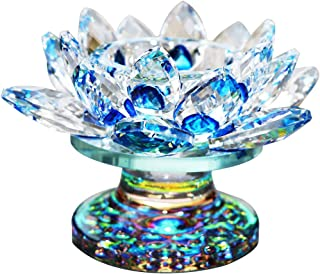Waltz&F Blue Crystal Lotus Flower Tealight Candle Holder Centerpieces Dia Approx 4.5