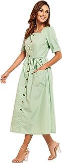 فساتين ماكسي للنساء باكمام قصيرة عادية بازرار كاجوال للعطلات والارتداء اليومي مع جيوب خضراء اللون من ميا اند فن