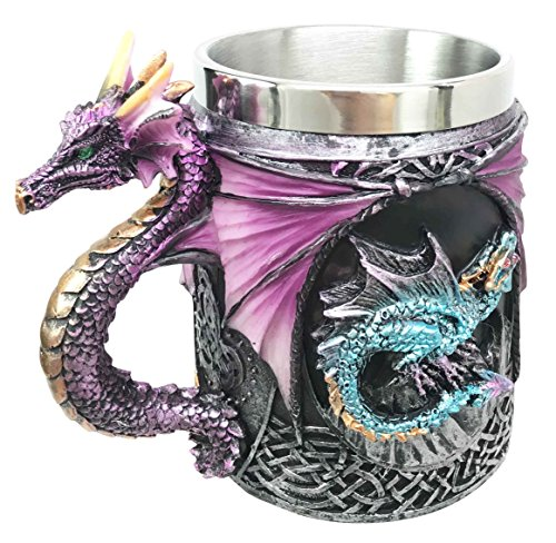 Myths And Legends The Conception Of Blue Fire Beowulf Purple Dragon Beer Stein Tankard Coffee Cup Mug Great Gift For Dragon Lovers Party Hosting (Purple Dragon)