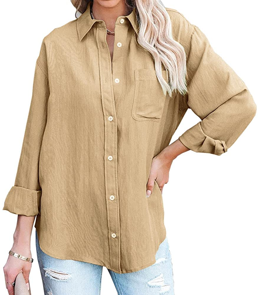 Aiopr Womens V Neck Button Down Shirts Casual Long Sleeve Blouses Roll Up Tops with Pockets