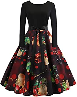 Christmas Vintage Dress, Women Elegant Long Sleeve Print Dresses - O Neck Xmas Evening Party Swing Dress