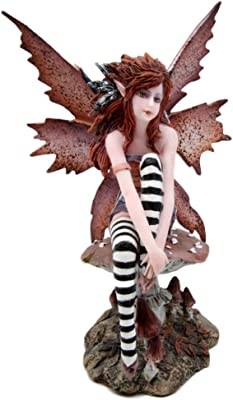 Ebros Gift Amy Brown Red Haired Enchanted Forest Autumn Fall Fairy Sitting On Giant Toadstool Mushroom Decorative Figurine 6 25 H Fantasy Faery Garden Magic Collectible Statue Fairies Pixies Nymphs Home