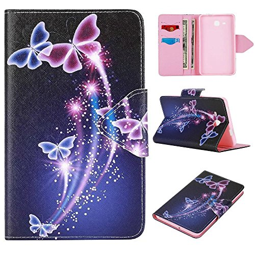 Samsung TabA 7 Zoll Schutzhülle,Cover für Samsung Tab A6 LTE Tablet,Smart Folio Case Cover Stand PU Leder Hülle für Samsung Galaxy Tab A 7.0 Zoll (2016) SM-T280N/T285N Tablet,Lila Schmetterling