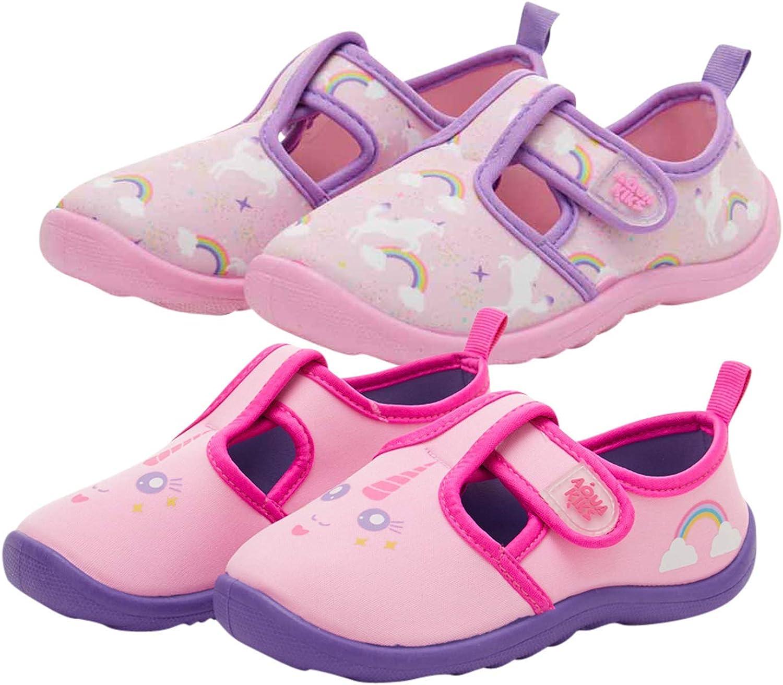 Aquakiks Girls' Water Shoes – 2 Pack Non-Slip Quick Dry Waterproof Aqua Shoes (Toddler/Little Kid/Big Kid)