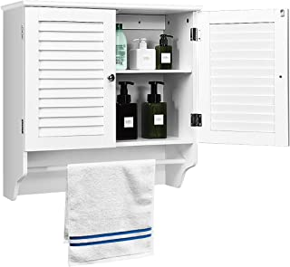 Tangkula Bathroom Wall Mounted Cabinet, Hanging Bathroom Cabinet, Bathroom Storage Cabinet with Towel Bar & Adjustable Shelf, Medicine Cabinet, Toilet Organizer with Two Louvered Doors (White)