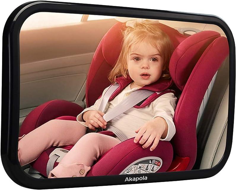 Espejo Retrovisor Bebé para Vigilar al Bebé en Coche Akapola 360° Ajustable Irrompible Interior para Silla Trasera de Bebé/Asientos de Niños Orientados Hacia Atrás 100% Inastillable Espejo Coche