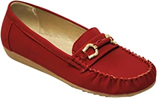 Belladia Boss-01 Women's Round Toe Moccasin Golden Buckle Suede Slip on Flat Shoes