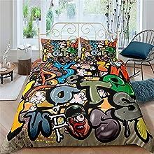 AYMAING Juego De Funda NóRdica Graffiti Mega Cool Colorido HabitacióN para JóVenes Ropa De Cama DiseñO De Arte Callejero De Nueva York En Microfibra con Cremallera 135x200 Cm + 80x80 Cm