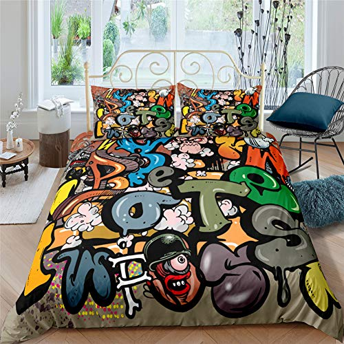 AYMAING Set Copripiumino Graffiti Mega Cool Colorato Biancheria da Letto per Ragazzi New York Street Art Design in Microfibra con Zip 155x220 Cm + 50x75 Cm