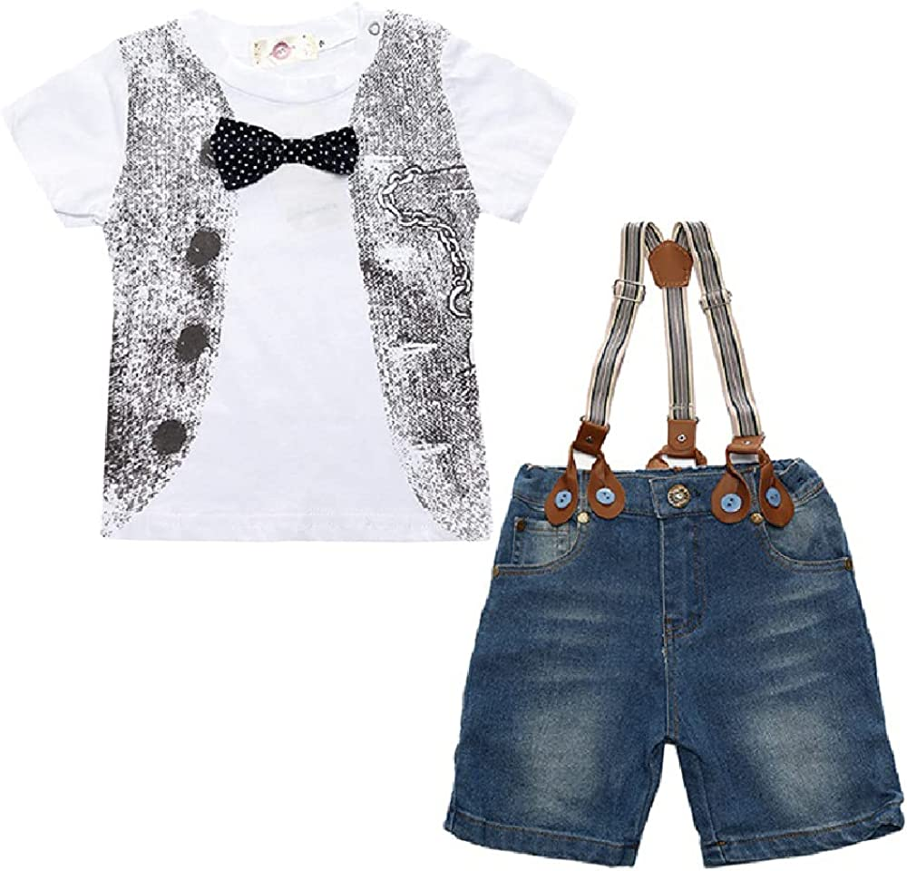 Quenny Boys' Suits,Summer Boys' Strap Jeans and Printed T-Shirt 3-Piece Sets.