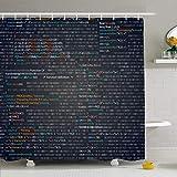 Ensemble de rideau de douche avec crochets Capture d'écran d'application Pièces de script aléatoires Codage de code de programme Web Textures d'écran Xml industriel Tissu polyester imperméable Décor d