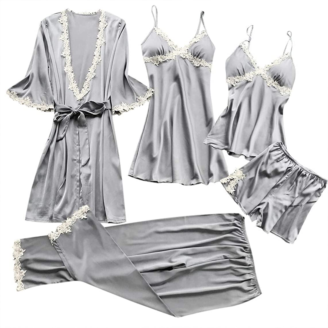 ZOMUSAR Fashion Women Sexy Lace Lingerie Nightwear Underwear Babydoll Sleepwear Dress 5PC Suit