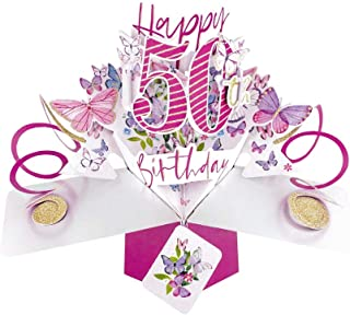 Second Nature 50th Birthday Butterflies Pop Up Greeting Card - POP192