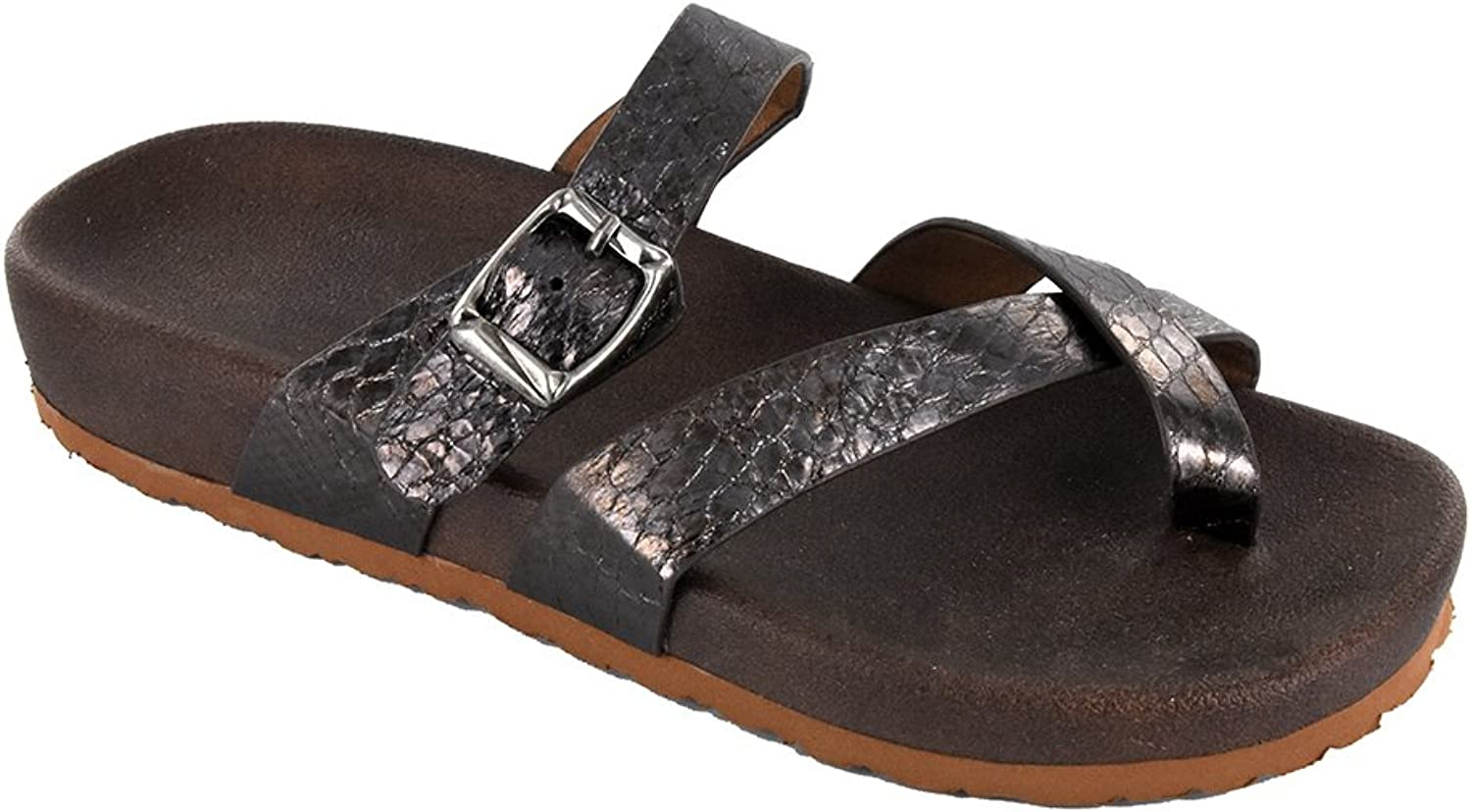 Corkys Women's Santa Ana Strappy Slip On Sandals Pewter