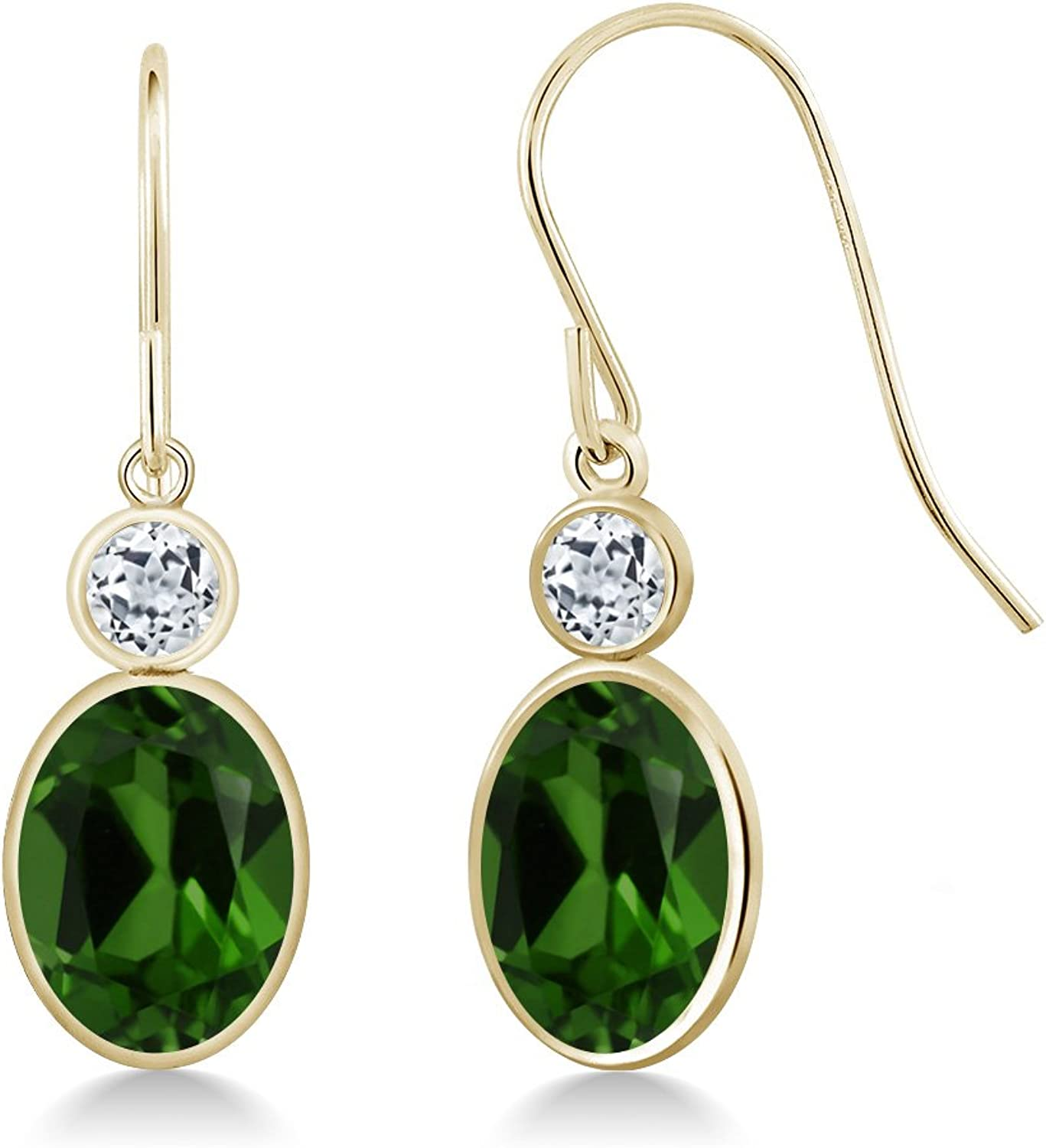 2.68 Ct Oval Green Chrome Diopside White Topaz 14K Yellow gold Earrings