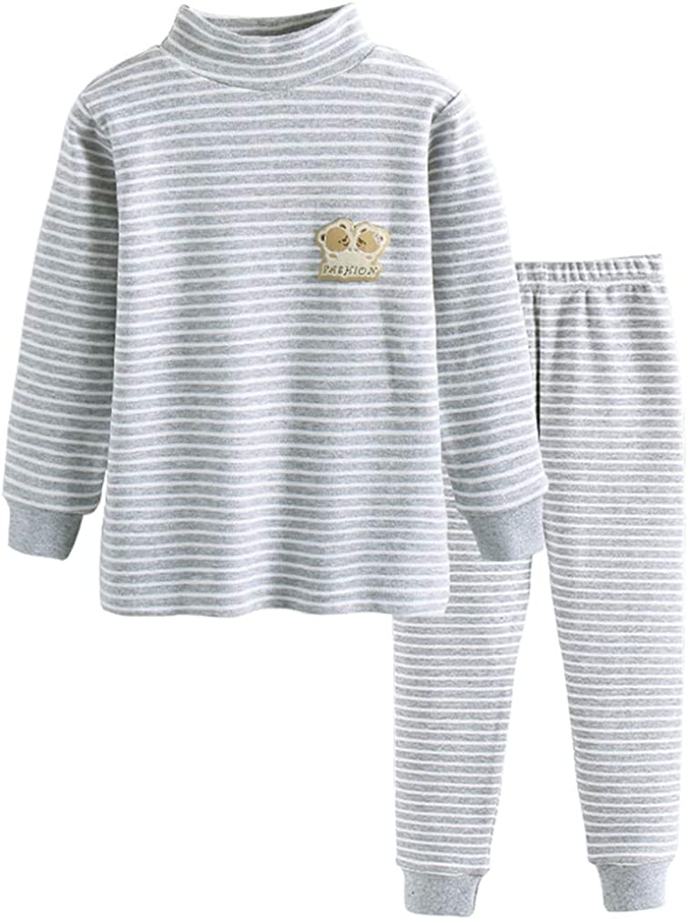 GLEAMING GRAIN Little Boys Thermal Underwear Boys Long Sleeve Striped Sleepwear Organic Cotton Apparel PJ Set Grey 5T
