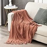 LIFEIN Soft Knit Fall Throw Blanket for Couch - Premium Cozy Woven Autumn Chenille Throw Blanket, Farmhouse Textured Decorative Blankets Throws with Tassels for Bed/Sofa/Chair (Rust)