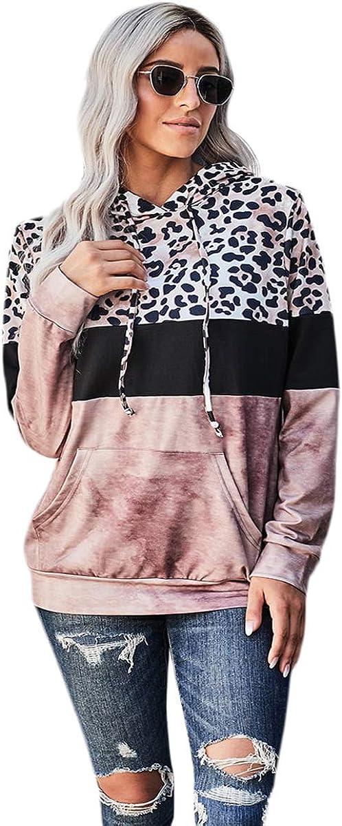 MakeMeChic Women's Contrast Leopard Panel Hoodie Color Block Pullover Tops