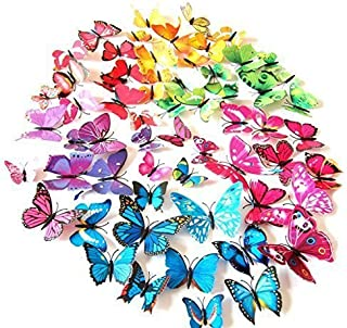 LiveGallery 72 PCS 6 Colors Removable 3D DIY Beautiful Butterfly Wall Decals Colorful Butterflies Art Decor Wall Stickers ...