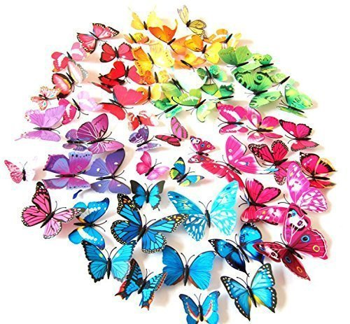 LiveGallery 72 PCS 6 Colors Removable 3D DIY Beautiful Butterfly Wall Decals Colorful Butterflies Art Decor Wall Stickers Murals for Kids Baby Boy Girls Bedroom Classroom Offices TV Background