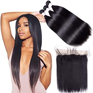 YUZHU Peruvian Straight Human Hair Bundles with Frontal 24