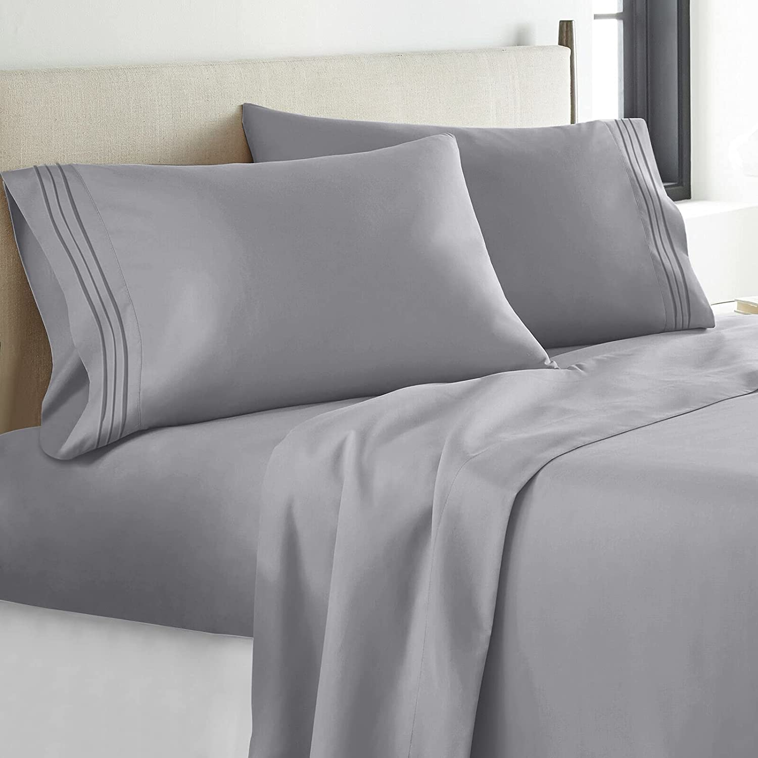 YIYEA Full Sheet Set - 4 Pieces Bedding Sheets & Pillowcases Ultra Soft Breathable 16 inch Deep Pocket Microfiber 1800 Thread Count - Wrinkle, Fade, Stain Resistant Washable-Grey : Home & Kitchen