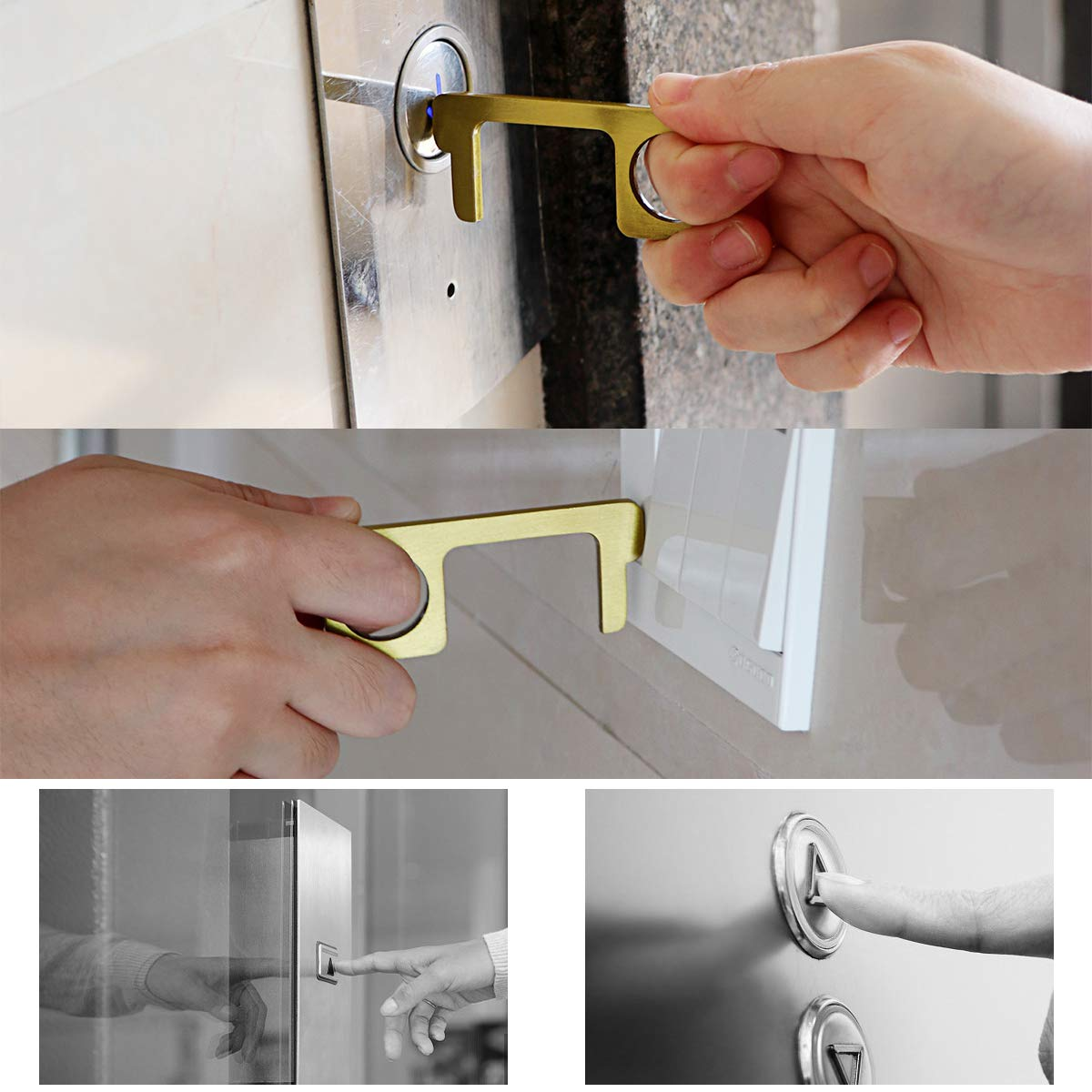 Black Door Opener No Touch Keychain Non-Contact Button Pusher Metal Portable Handle Round Head for Opening Pressing Elevator