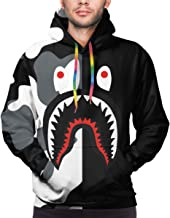 Trikahan Unisex Bape Blood Shark Pullover Hoodies 3D Digital Print Velvet Sweatshirt Pockets