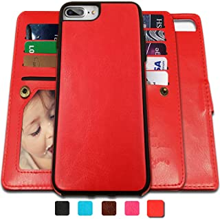 CASEOWL iPhone 8 Plus Case,iPhone 7 Plus Wallet Cases with Detachable Slim Case with 9 Card Slots,Stands,Strap for iPhone 7 Plus(2016)/8 Plus(2017), 2 in 1 Folio Leather Removable TPU Case(Red)
