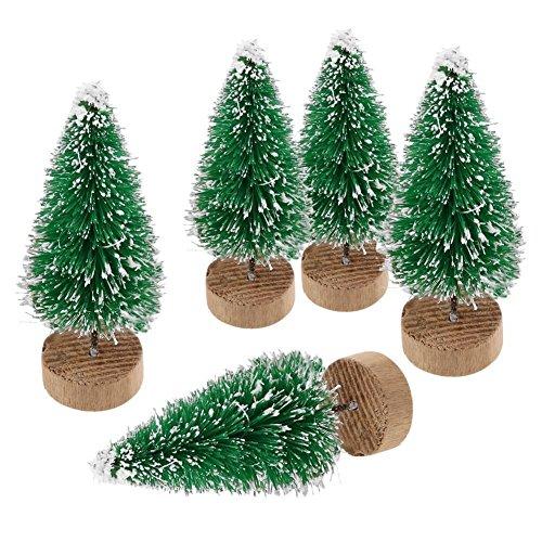 ILOVE DIY Lot de 10 Sapin de Noel Artificiel Mini Arbre de Noël Miniature Decoration Table Intérieur (Vert, Hauteur 4.5cm)