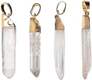 Wholesale 4 PCS Raw Clear Quartz Crystal Pendant Natural Gem Healing Point Reiki Charm Bulk for Jewelry Making