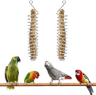 Mein HERZ 2 st papegoja spett, fågelmatare, papegoja mat fruktkorg hirs rostfritt stål matning fågelbur enhet, fågel frukt...