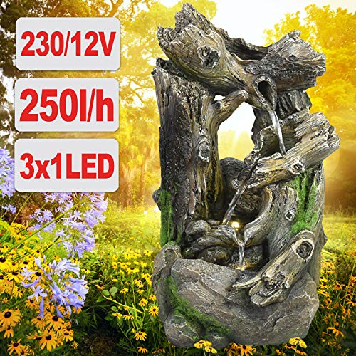 profi-pumpe.de Gartenbrunnen Brunnen Zierbrunnen Zimmerbrunnen Springbrunnen Brunnen Wald-GEFLÜSTER mit LED-Licht 230V Wasserfall Wasserspiel für Garten, Gartenteich, Terrasse, Balkon Sehr Dekorativ