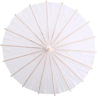 Paper Umbrella, Paper Parasols Decorative Umbrella White Paper Decorative Umbrella Wedding Bridal Party Decor Photo Cosplay Prop Photography(40cm)
