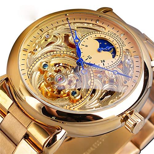 Forsining Herren Armbanduhr, Casual Handaufzug mechanische Uhr mit Edelstahl Armband Bezel Skelett Zifferblatt,colorA