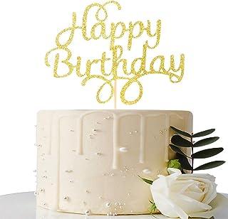 Happy Birthday Cake Topper - Gold Glitter First Birthday Party Decorations - Birthday Party Decorations for Adult/Children...
