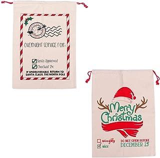VICASKY 2 peças de bolsas de armazenamento de lona de Natal com cordão, conjunto de sacos de doces para decoração de casa ...