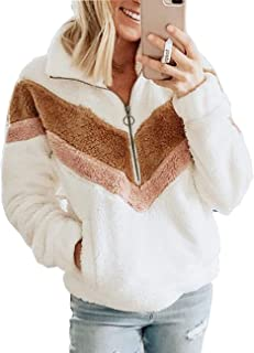 Damissly Womens Fuzzy Sweatshirt Half-Zip Sherpa Pullover Fluffy Faux Winter Coat Fleece Color Block Jacket with Pocket