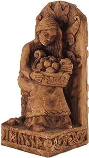 Seated Norse Goddess Idunna Statue Wood Finish