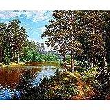 HRSDYJ Pintura por Números para Adultos y Niños río Dibujos para Pintar con Números, DIY Pintura al Óleo por Números Decoración del Hogar 40 x 50 cm